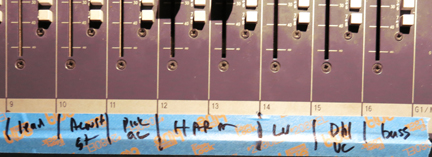 Tape on the mixing board